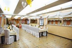 fira restaurangtabeller till bröllop Royaltyfria Bilder