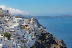 Fira`s town with sea Royalty Free Stock Images