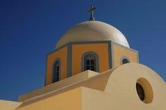 fira的, santorini,希腊教会 库存图片
