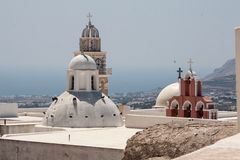 Fira Santorini Churches Stock Images