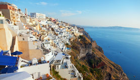 Fira, Santorini. Cityscape panorama of Fira town, Santorini in the late afternoon Stock Photography