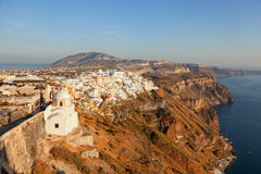 Fira, Santorini. Cityscape panorama of Fira town, Santorini in the late afternoon Stock Image