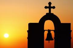 Fira, Santorini. Famous church in Fira, Santorini at sunset royalty free stock photography