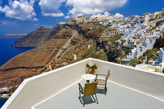 Fira, Santorini. Greece. Cyclades Islands - Santorini (Thira). Fira town (the modern capital of island) with characteristic style for Cycladic architecture stock photo