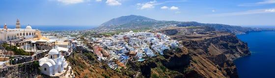 Fira Santorini Greece. Panoramic shot overlooking Fira Santorini (Thira) island Greece Europe stock photography