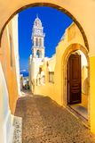 Fira, Santorini island, Greece: Cathedral Church of Saint John The Baptist royalty free stock photography