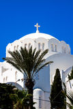 Fira Santorini Island Greece Europe. The Orthodox Metropolitan Cathedral in the principal town of Fira Santorini Island Greece Europe Royalty Free Stock Photo