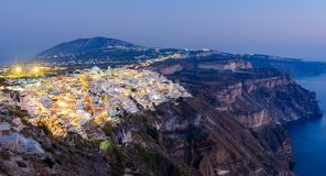 Fira, Santorini island, Greece. Overview of the cliffside town o stock images