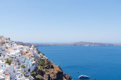 Fira, Santorini. Santorini is an island in the southern Aegean Sea, about 200 km southeast of Greece's mainland. It is the largest island of a small, circular Royalty Free Stock Image