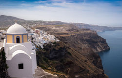 Fira stad i Santorini, Grekland Arkivfoton