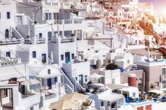 Fira stad på den Santorini ön, Grekland traditionell arkitektur Arkivfoto