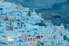 Fira at sunset. Santorini, Cyclades, Greece. Stock Images