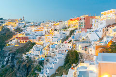 Fira at sunset. Santorini, Cyclades, Greece. Stock Photos