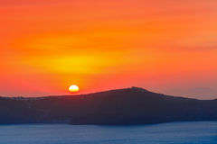 Fira at sunset, Santorini, Greece Royalty Free Stock Images