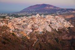 Fira (Thera) miasteczko Santorini, Grecja, - Obraz Royalty Free