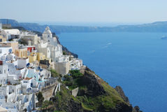 Fira town and deep blue sea Santorini. Greece Royalty Free Stock Photo