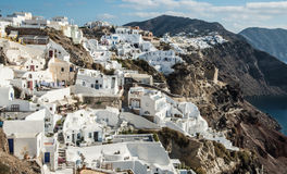 Fira town on the Greek island of Santorini. White-washed buildings along the top of the crater on the island of Santorini in Greece Stock Photography