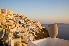 Fira Town, Santorini, Greece. Beautiful cliff-top view of Fira during a sunset. Fira is the main town on the island of Santorini, Cyclades, Greece Royalty Free Stock Photography