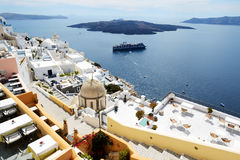 The Fira town with view on Aegean sea Stock Photography
