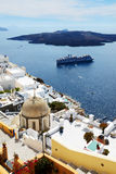 The Fira town with view on Aegean sea Stock Image