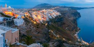 Fira during twilight blue hour, Santorini, Greece Stock Photo