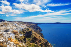 Fira village on Santorini island Stock Photos