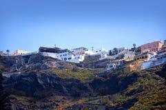 Fira vom Meer bei Santorini Lizenzfreie Stockfotos