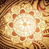 Fird Eye Abstract Henna Color Mandala Background. Fird Eye Abstract Henna Brown Color Mandala Vintage Background Stock Photo