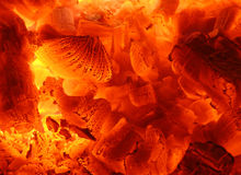 Fire 03. Fire and ember in fireplace Royalty Free Stock Photos