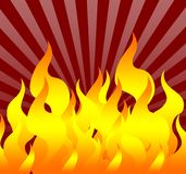 Fire [03]. A great Fire on a Red Sunburst Background Stock Photo