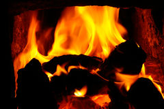 Fire-1. Coal hearth. Burning in stove fire Royalty Free Stock Photos