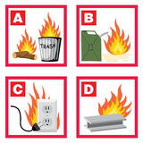 Fire. Vector icons on fire safety theme Stock Photo