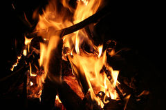 Fire. Close view of a camp fire, room for text royalty free stock photo