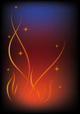 Fire. Flames and flying sparks on black background Royalty Free Stock Photo