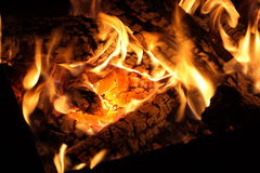 Fire. Carbons in the fire, isolated Royalty Free Stock Photography