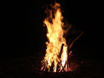Fire. Big fire camp in the night stock photo