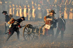 Fire!. History fans reacting the battle of 1805 Austerlitz. Tvarozna village, near Brno, Czech Republic; November 27th 2009 Stock Photo