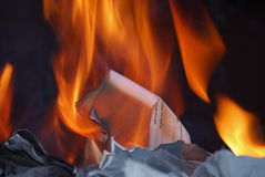 Fire. Burning important documents on fire Stock Photography