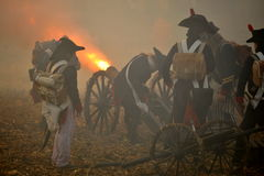 Fire!. History fans reacting the battle of 1805 Austerlitz. Tvarozna village near Brno city in Czech Republic, 27th of November 2009 Stock Image
