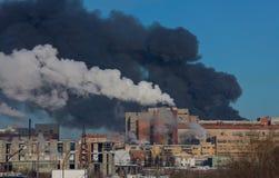Fire. Big fire on the powerplant Stock Photos
