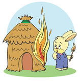 Fire. Hare dabbled with matches and set fire Royalty Free Stock Images