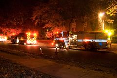 Fire. Trucks at night responding to a call royalty free stock photos