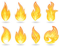 Fire. Set of a fire icons, illustration Stock Photography