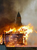 Fire. Burn wooden houses and constructions royalty free stock photography