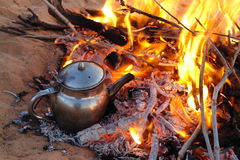 Fire. Tea with fire in desert Stock Images