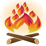 Fire. Single fire flame isolated on white background with clipping path Royalty Free Stock Photography
