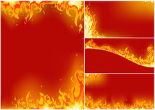 Fire. Vector set of fire cards Royalty Free Stock Photography
