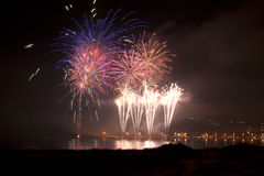 Fire. Works in sao martinho do porto portugal Royalty Free Stock Photography