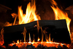 Fire. Close up of wood burning in the fireplace Royalty Free Stock Photo
