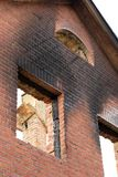 After a fire. A brick house after a fire Royalty Free Stock Images